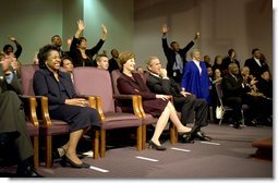 Celebrating the national observance of Dr. Martin Luther King, Jr.'s birthday, President George W. Bush and Laura Bush attend services at the First Baptist Church of Glenarden in Landover, Md., Monday, Jan. 20. 2003.  White House photo by Susan Sterner