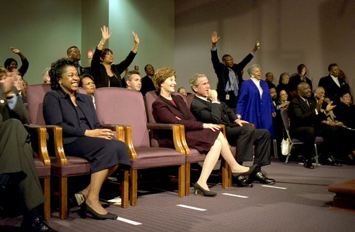 Celebrating the national observance of Dr. Martin Luther King, Jr.'s birthday, President George W. Bush and Laura Bush attend services at the First Baptist Church of Glenarden in Landover, Md., Monday, Jan. 20. 2003. White House photo by Susan Sterner.