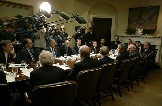 "President George W. Bush addresses the press after meeting with economists in the Roosevelt Room Jan. 21, 2003. ""We had a great discussion about the plan that I laid out for the Congress to consider and to enact, a plan which focuses on job creation, a plan which recognizes that money in the consumers' pocket will help grow this economy, a plan that recognizes there are some long-term things we can do to make sure the investor feels comfortable taking risks in America,"" said the President to the media. White House photo by Paul Morse"
