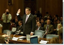 Governor Tom Ridge is sworn in during senate confirmation hearings as Secretary of the Department of Homeland Security at the U.S. Capitol Jan. 17, 2003. The Senate unanimously confirmed Governor Ridge as the first Secretary of DHS Jan. 22, 2003.  White House photo by Tina Hager