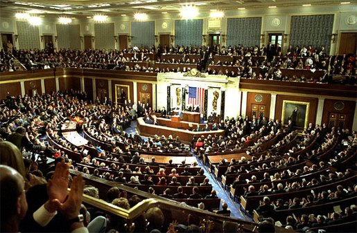 President George W. Bush delivers his State of the Union address to the nation and a joint session of Congress in the House Chamber at the U.S. Capitol Tuesday, Jan. 28, 2003. White House photo by Susan Sterner