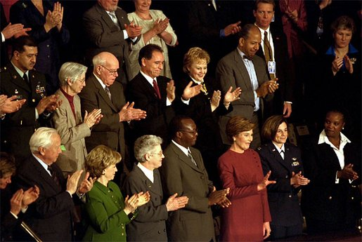 Laura Bush waves as she is applauded during President Bush's State of the Union speech at the U.S. Capitol Tuesday, Jan. 28, 2003. White House photo by Susan Sterner