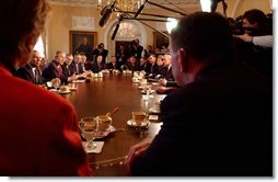 "During the first Cabinet meeting with Secretary Tom Ridge attending as Secretary of the Department of Homeland Security, President George W. Bush addresses the media in the Cabinet Room Tuesday, Jan. 28, 2003. ""Tonight, I'm going in front of our nation to talk about the great challenges that face our country, but no doubt that we'll be able to handle those challenges because we are a great country,"" President Bush said referring to his State of the Union speech.  White House photo by Tina Hager"