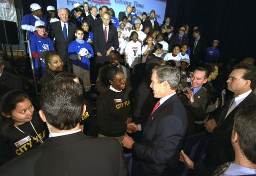 "On the first anniversary of President George W. Bush's USA Freedom Corps initiative, the President visits the Jelleff Branch of the Boys & Girls Club of Greater Washington in the District of Columbia Thursday, Jan. 30. ""Once again, I'm asking our fellow citizens to serve your community and to serve your country by finding a program that will make a difference in somebody's lives. It doesn't matter how big or small the program may sound. What matters is your love and your energy and your participation,"" said the President in his remarks. White House photo by Tina Hager."