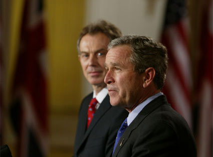 "After meeting privately to discuss the situation in Iraq, President George W. Bush and British Prime Minister Tony Blair address the media in the Cross Hall Friday, Jan. 31, 2003. ""I appreciate my friend's commitment to peace and security. I appreciate his vision. I appreciate his willingness to lead,"" said the President of Prime Minister Blair. ""Most importantly, I appreciate his understanding that after September the 11th, 2001, the world changed; that we face a common enemy -- terrorists willing to kill innocent lives; that we now recognize that threats which gather in remote regions of the world must be dealt with before others lose their lives."" White House photo by Paul Morse"