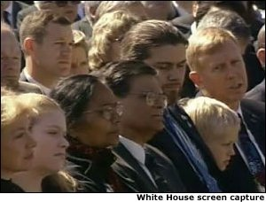A memorial service was held today at the Johnson Space Center in Houston, Texas for the seven crew members who were lost aboard Space Shuttle Columbia. White House screen capture