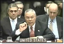 Colin Powell addresses the U.N. Security Council. White House screen capture.