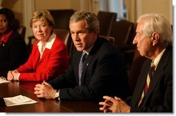 President George W. Bush addresses the media during a bipartisan meeting on Welfare Reform in the Cabinet Room Tuesday, Feb. 11, 2003.  White House photo by Tina Hager