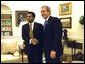 President George W. Bush hosts a visit by President Lucio Borbua Gutierrez of Ecuador to the Oval Office Tuesday, Feb. 11, 2003. White House photo by Tina Hager.