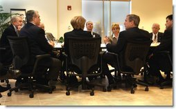 President George W. Bush meets with small investors at Charles Schwab and Company in Alexandria, Va., Wednesday, Feb. 12, 2003.   White House photo by Tina Hager
