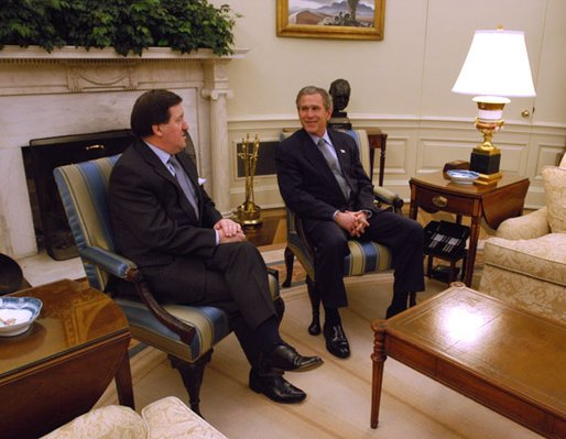 President George W. Bush meets with NATO Secretary General Lord Robertson in the Oval Office Wednesday, Feb 19, 2003. White House photo by Eric Draper.