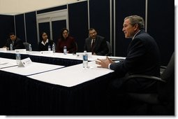 President George W. Bush meets with small business owners and employees before speaking on jobs and economic growth at Harrison High School in Kennesaw, Ga., Thursday, Feb. 20, 2003.  White House photo by Eric Draper
