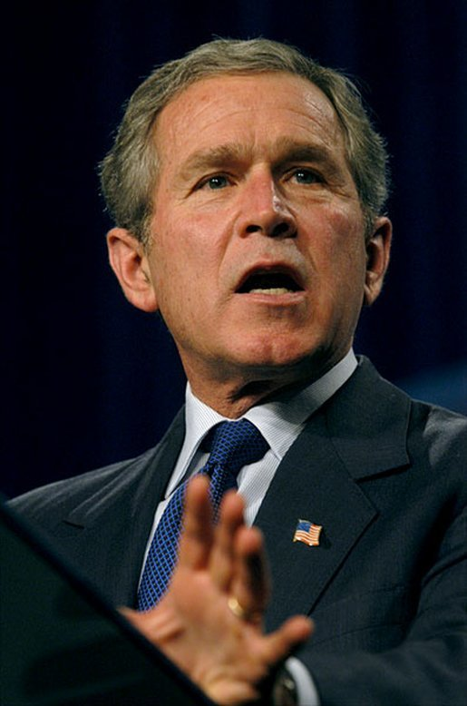President George W. Bush discusses jobs and economic growth at Harrison High School in Kennesaw, Ga., Thursday, Feb. 20, 2003. White House photo by Eric Draper