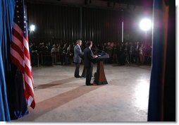 President George W. Bush and President Jose Maria Aznar of Spain begin a joint press conference at the Bush Ranch in Crawford, Texas, Saturday, Feb. 21, 2003.  White House photo by Eric Draper