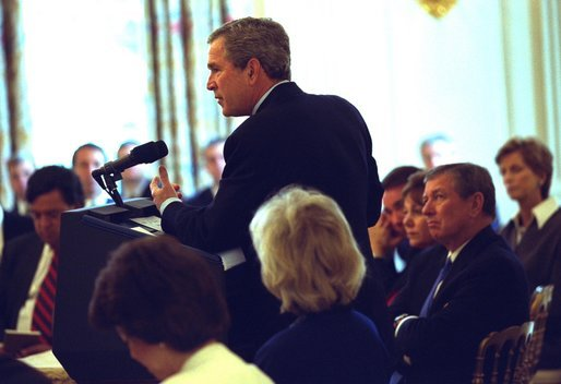 President George W. Bush meets with the National Governors Association in the State Dining Room Monday, Feb. 24, 2003. White House photo by Tina Hager