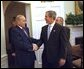 President George W. Bush welcomes Heydar Aliyev, President of Azerbaijan, to the Oval Office Wednesday, Feb. 26, 2003. White House photo by Eric Draper