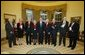 President George W. Bush stands with the recipients of the 2002 National Humanities Medal in the Oval Office Thursday, Feb. 27, 2003. From left, they are: Joseph McDade, who accepts the award on behalf of Frankie Hewitt of Ford's Theatre; Ellen Carroll Walton, who accepts the award on behalf of the Mount Vernon Ladies' Association of the Union; Dr. Donald Kagan of Yale University; author Patricia MacLachlan; Brian Lamb of C-SPAN; Art Linkletter of the United Seniors Association; Frank Conroy, who accepts the award on behalf of the Iowa Writers' Workshop; and Justice Clarence Thomas, who accepts the award on behalf of Dr. Thomas Sowell of the Hoover Institution. White House photo by Paul Morse.