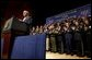 President George W. Bush delivers remarks to new employees of the U.S. Department of Homeland Security at the Ronald Reagan Building and International Trade Center in Washington, D.C., Friday, Feb. 28, 2003. White House photo by Paul Morse