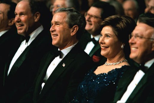 President George W. Bush and Laura Bush attend a benefit gala for the historic Ford's Theatre in Washington, D.C., Sunday, March 2, 2003. White House photo by Paul Morse
