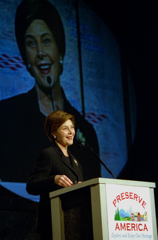 Laura Bush addresses the National Association of Counties Conference in Washington, D.C. Monday, March 3, 2003. Mrs. Bush announced Preserve America, an initiative which highlights the Administration's support of the preservation and enjoyment of the nation's historic places. White House photo by Susan Sterner