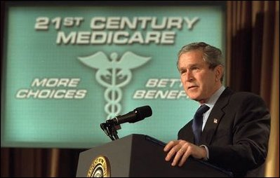 President George W. Bush talks about the importance of Medicare and medical liability reform during the American Medical Association's National Conference in Washington, D.C., Tuesday, March 4, 2003. White House photo by Paul Morse.