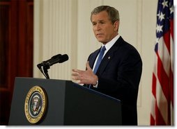 President George W. Bush discusses Iraq and terrorism with the media during a press conference in the East Room Thursday evening, March 6, 2003.  White House photo by Lynden Steele