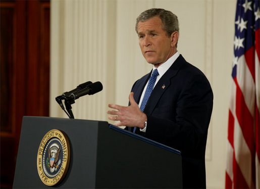 President George W. Bush discusses Iraq and terrorism with the media during a press conference in the East Room Thursday evening, March 6, 2003. White House photo by Lynden Steele.