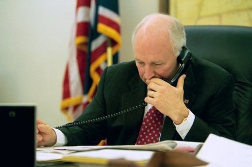 Vice President Dick Cheney works in his West Wing Office Wednesday, March 19, 2003. White House photo by David Bohrer.