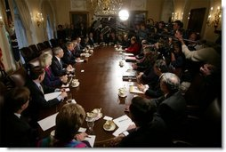 President George W. Bush addresses the media during a meeting with his Cabinet the day after beginning the disarmament of Iraq Thursday, March 20, 2003.  White House photo by Paul Morse