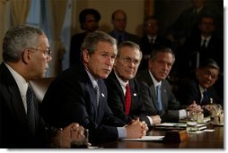 President George W. Bush meets with his Cabinet the day after beginning the disarmament of Iraq in the Cabinet Room Thursday, March 20, 2003. Pictured with the President are, from left, State Secretary Colin Powell, Defense Secretary Donald Rumsfeld, Commerce Secretary Don Evans and Transportation Secretary Norman Mineta.  White House photo by Paul Morse