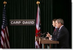 "President George W. Bush and British Prime Minister Tony Blair hold a news conference following their overnight summit at Camp David, Thursday, March 27, 2003. ""We appreciate the bravery, the professionalism of the British troops, and all coalition troops. Together we have lost people, and the American people offer their prayers to the loved ones of the British fallen, just as we offer our prayers to the loved ones of our own troops who have fallen,"" President Bush said.  White House photo by Paul Morse"