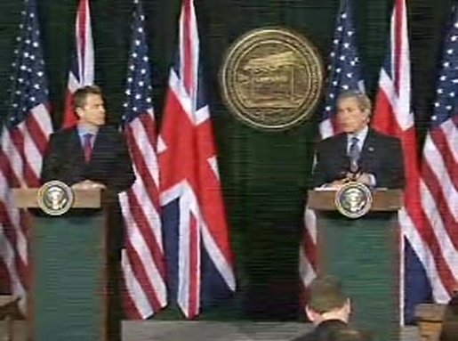 President Bush and Prime Minister Blair held a joint press availability today. White House screen capture