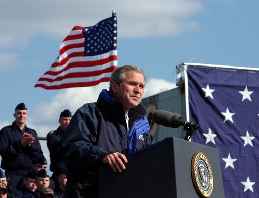 "President George W. Bush addresses members of the United States Coast Guard in Philadelphia Monday, March 31, 2003. ""Now, as part of the Department of Homeland Security, you have taken on a new and vital mission, a mission as important as any in your 213-year history: the mission of defending our country against terrorist attack,"" President Bush said. White House photo by Tina Hager"