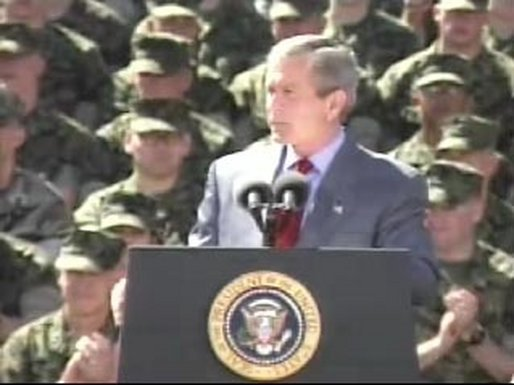 President Bush addressed the troops today at Camp Lejeune. Video and transcript to be available soon. White House screen capture.