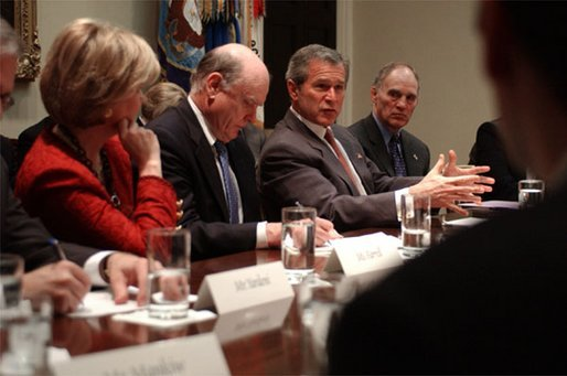 President George W. Bush meets with a group of economists from Wall Street in the Roosevelt Room Wednesday, April 2, 2003. White House photo by Tina Hager.