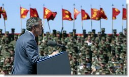 President George W. Bush addresses Marines at Camp Lejeune in Jacksonville, N.C., Thursday, April 3, 2003.  White House photo by Paul Morse