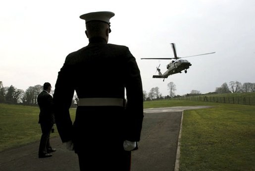 President George W. Bush arrives aboard Marine One at Hillsborough Castle in Northern Ireland, Monday, April 7, 2003. White House photo by Eric Draper.