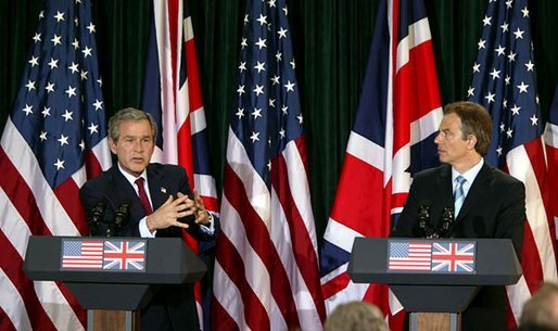 President George W. Bush and British Prime Minister Tony Blair hold a joint press conference at Hillsborough Castle near Belfast, Northern Ireland, Tuesday, April 8, 2003. White House photo by Paul Morse