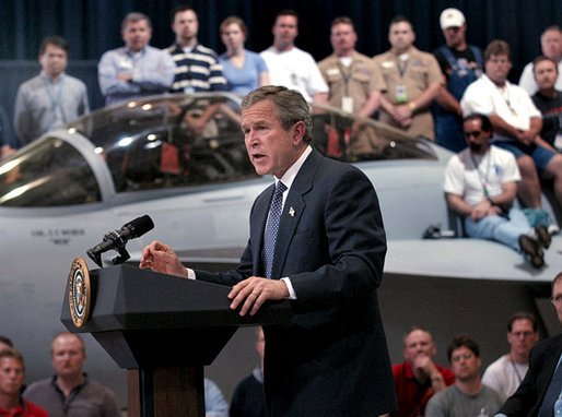 President George W. Bush delivers remarks at the Boeing F-18 Production Facility in St. Louis, Mo., Wednesday, April 16, 2003. White House photo by Eric Draper