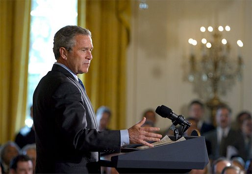 "President George W. Bush discusses his Global HIV/AIDS Initiative in the East Room Tuesday, April 29, 2003. ""Today, on the continent of Africa alone nearly 30 million people are living with HIV/AIDS, including 3 million people under the age of 15 years old. In Botswana, nearly 40 percent of the adult population -- 40 percent -- has HIV, and projected life expectancy has fallen more than 30 years due to AIDS,"" said the President. White House photo by Paul Morse"