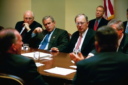 President George W. Bush participates in a homeland security briefing with Vice President Dick Cheney, left, and newly-appointed Homeland Security Advisor General John Gordon, center, in the Roosevelt Room Tuesday, April 29, 2003. White House photo by Eric Draper.