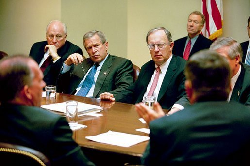 President George W. Bush participates in a homeland security briefing with Vice President Dick Cheney, left, and newly-appointed Homeland Security Advisor General John Gordon, center, in the Roosevelt Room Tuesday, April 29, 2003. White House photo by Eric Draper
