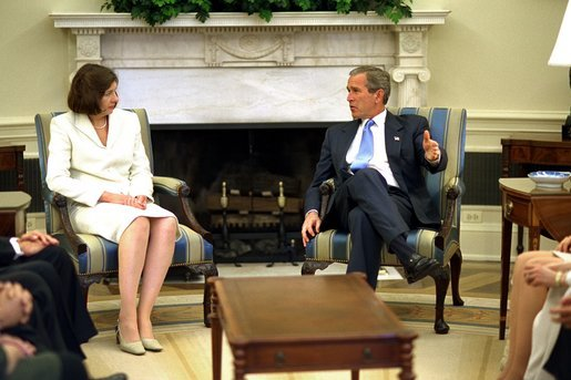 President George W. Bush meets with judicial nominee Priscilla Owen in the Oval Office. File Photo. White House photo by Paul Morse