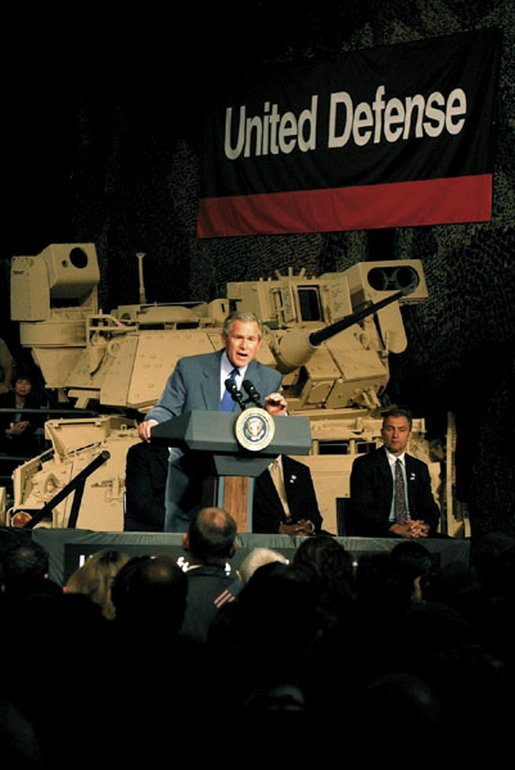 President George W. Bush addresses employees at United Defense Industries in Santa Clara, Calif., Friday, May 2, 2003. The defense company produces vehicles and technology that is being used by soldiers in Iraq, including the Bradley Fighting Vehicle and the Hercules Recovery Vehicle. White House photo by Susan Sterner