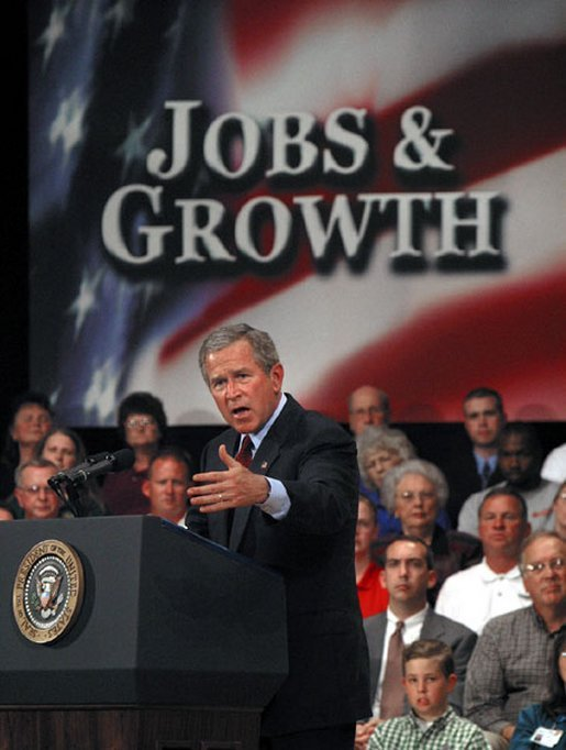 President George W. Bush addresses small business owners and employees during a roundtable discussion at the Robinson Center in Little Rock, Ark., Monday, May 5, 2003. White House photo by Susan Sterner
