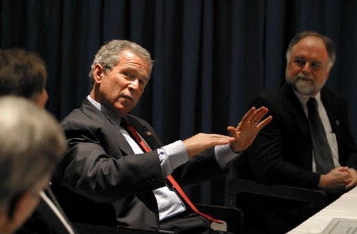 President George W. Bush talks with small business owners and employees during a roundtable discussion at the Robinson Center in Little Rock, Ark., Monday, May 5, 2003. White House photo by Susan Sterner