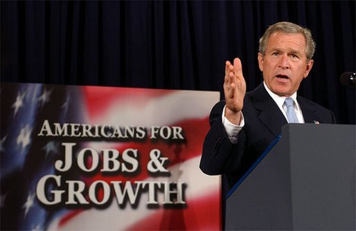 "President George W. Bush discusses his Tax Relief plan at the U.S. Chamber of Commerce Tuesday, May 6, 2003. ""You'll hear all kinds of rhetoric about how this plan is not fair. Well, let me just describe to you what it means to the family of four making $40,000 a year. It means their taxes would go from $1,178 a year to $45 a year,"" explained President Bush. ""That's what that means. That sounds fair to me."" White House photo by Tina Hager"