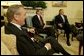 "During a meeting with Secretary of Defense Donald Rumsfeld, President George W. Bush announces L. Paul Bremer, center, as the presidential envoy to Iraq in the Oval Office Tuesday, May 6, 2003. ""He's a man of enormous experience; a person who knows how to get things done; he's a can-do type person,"" said the President of the former ambassador. White House photo by Paul Morse"