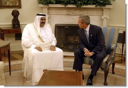 "President George W. Bush meets with Amir Hamad bin Khalifa Al Thani of Qatar in the Oval Office Thursday, May 8, 2003. ""I would like to thank the President very much for his gracious invitation for me to come and meet with him here at the White House,"" said the Amir during the two leaders' address to the media. ""We in Qatar are very keen to have a very unique and strong and distinct relationship with the United States, a relationship that it is transparent.""  White House photo by Paul Morse"