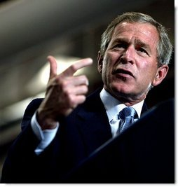"""Let's get tax relief to the American people as quickly as possible,"" said President George W. Bush emphasizing the need for tax relief during his remarks at Airlite Plastics in Omaha, Neb., Monday, May 12, 2003.   White House photo by Susan Sterner"